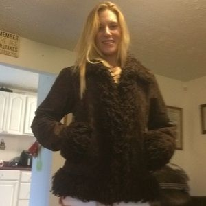 Large brown very warm fur trimmed coat
